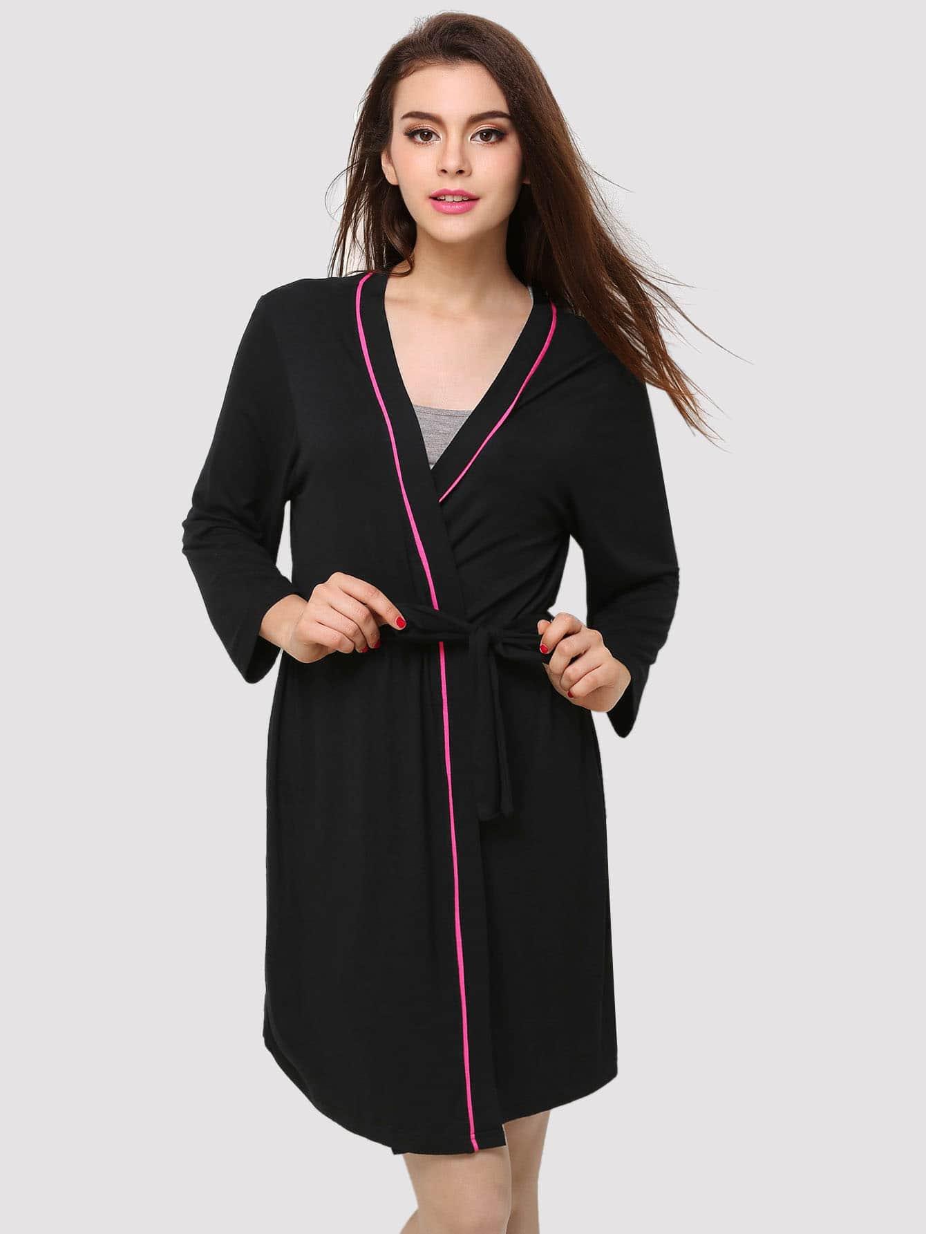 Купить Домашний халат с поясом и симметрическими обшивками, null, SheIn