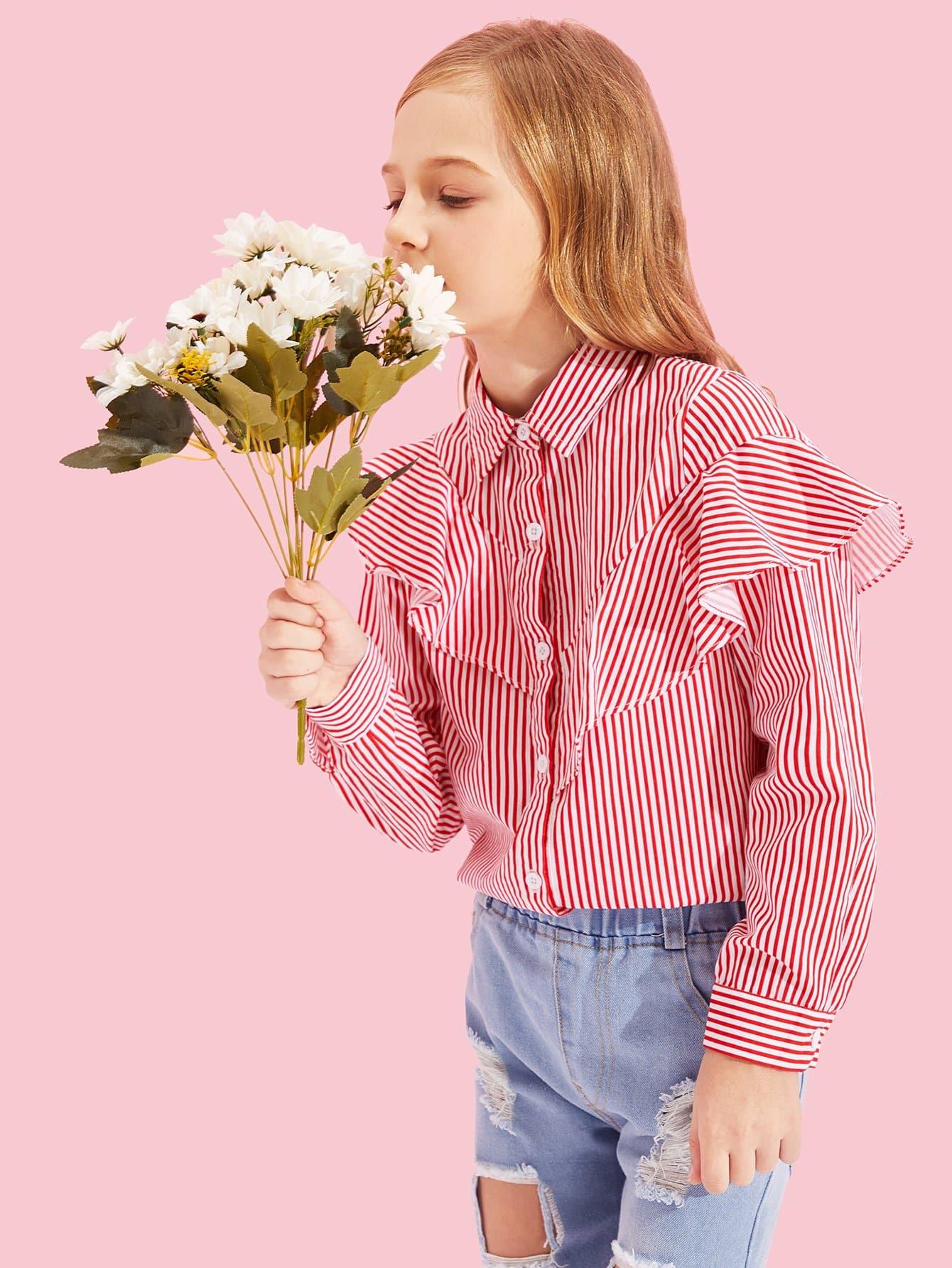 Купить Полосатая футболка с кружевными оборками и с украшением пуговицы для девочки, Kassia, SheIn
