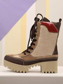 Faux Suede Platform Lace Up Hiking Boots