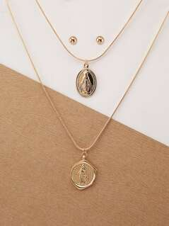 Layered Saint Pendant Necklace And Stud Earrings