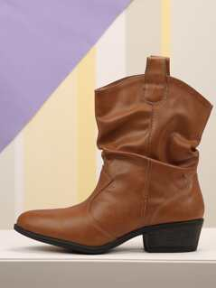 Slouch Faux Leather Western Booties