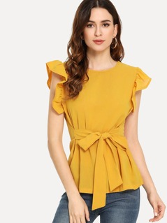 Ruffle Armhole Knot Front Top