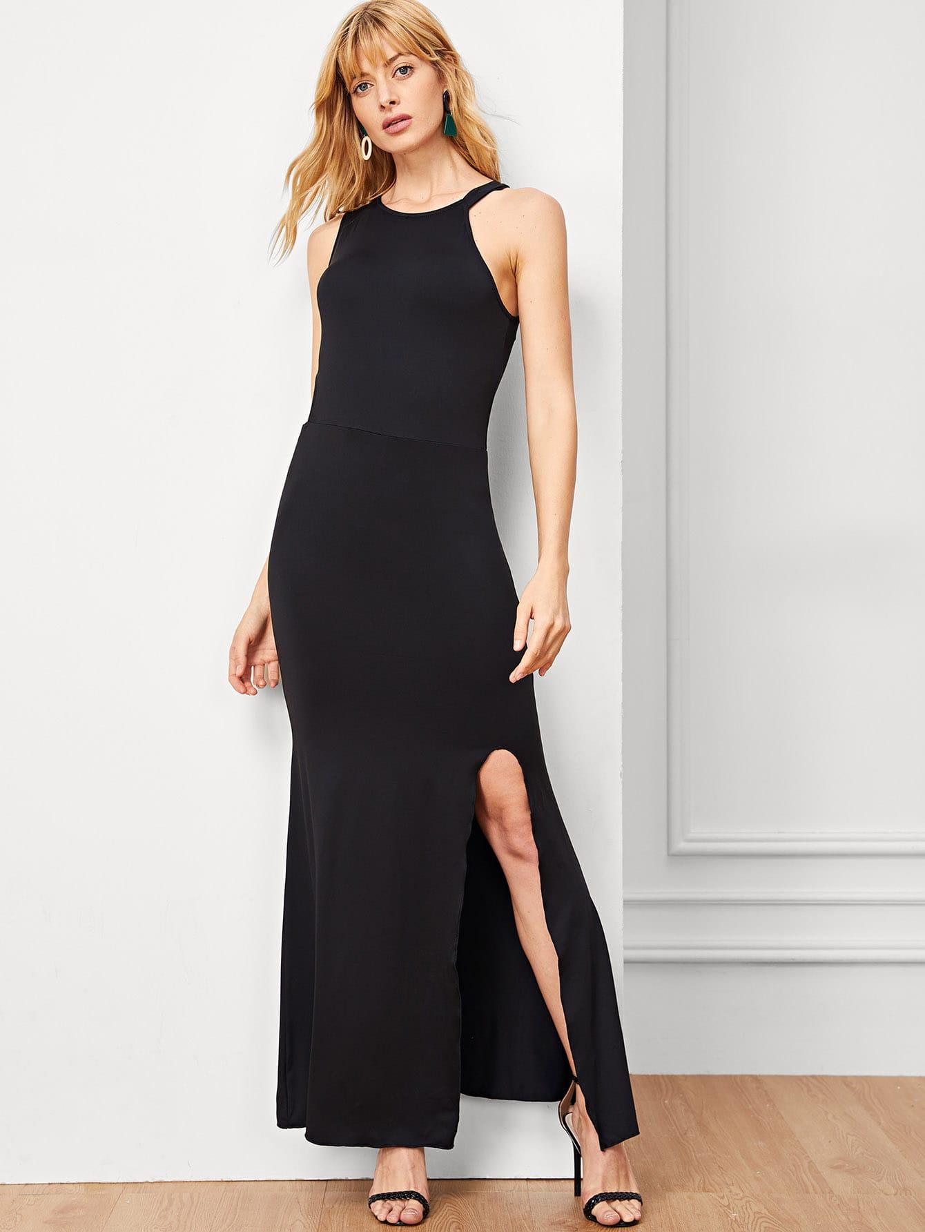 Купить Разделение платье с асимметричным плечом, Masha, SheIn