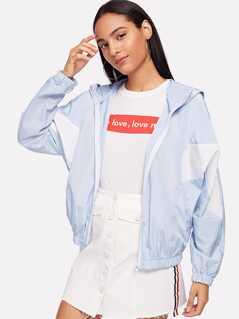 Zip Front Color Block Hoodie Jacket