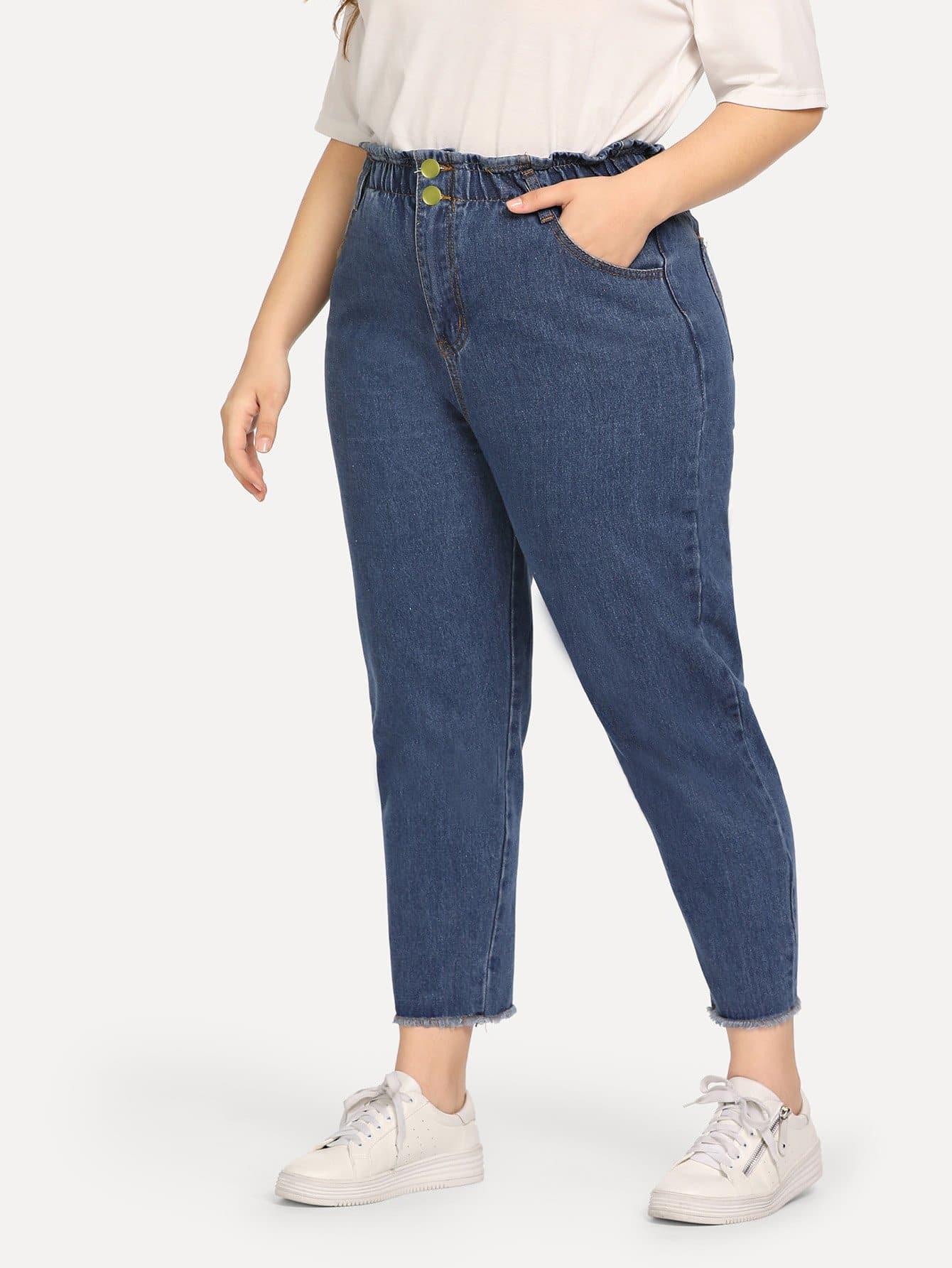 Купить Большие джинсы с басоном эластичным, Carol, SheIn