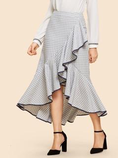 Ruffle Detail Plaid Skirt