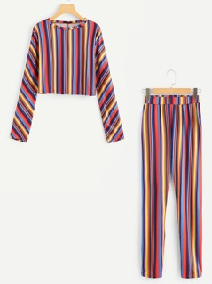 Colorful Striped Top & Pants Set