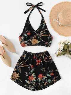 V Neck Botanical Print Halter Top & Shorts Set
