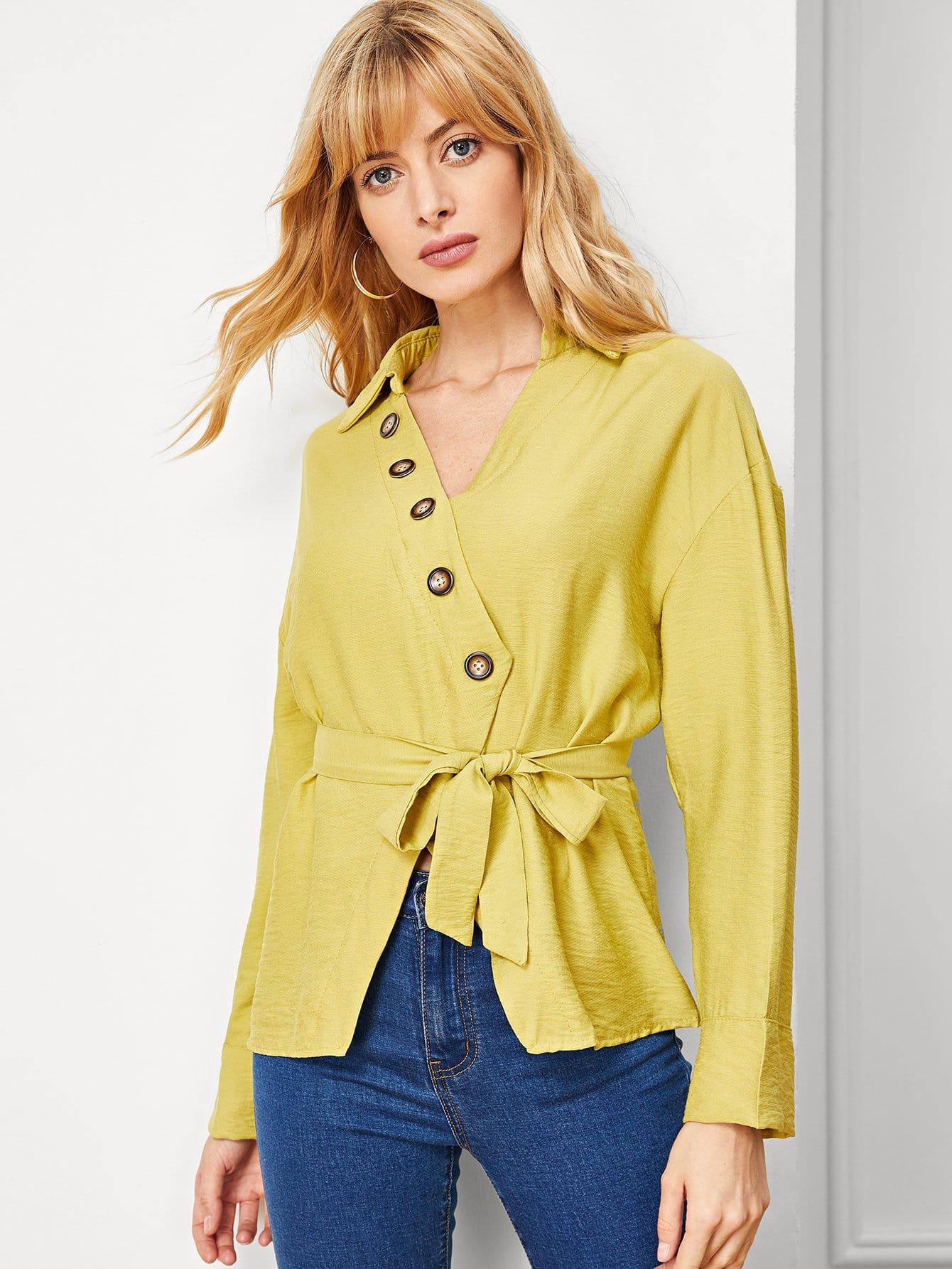 Купить Блуза с поясом и украшением пуговицы, Masha, SheIn