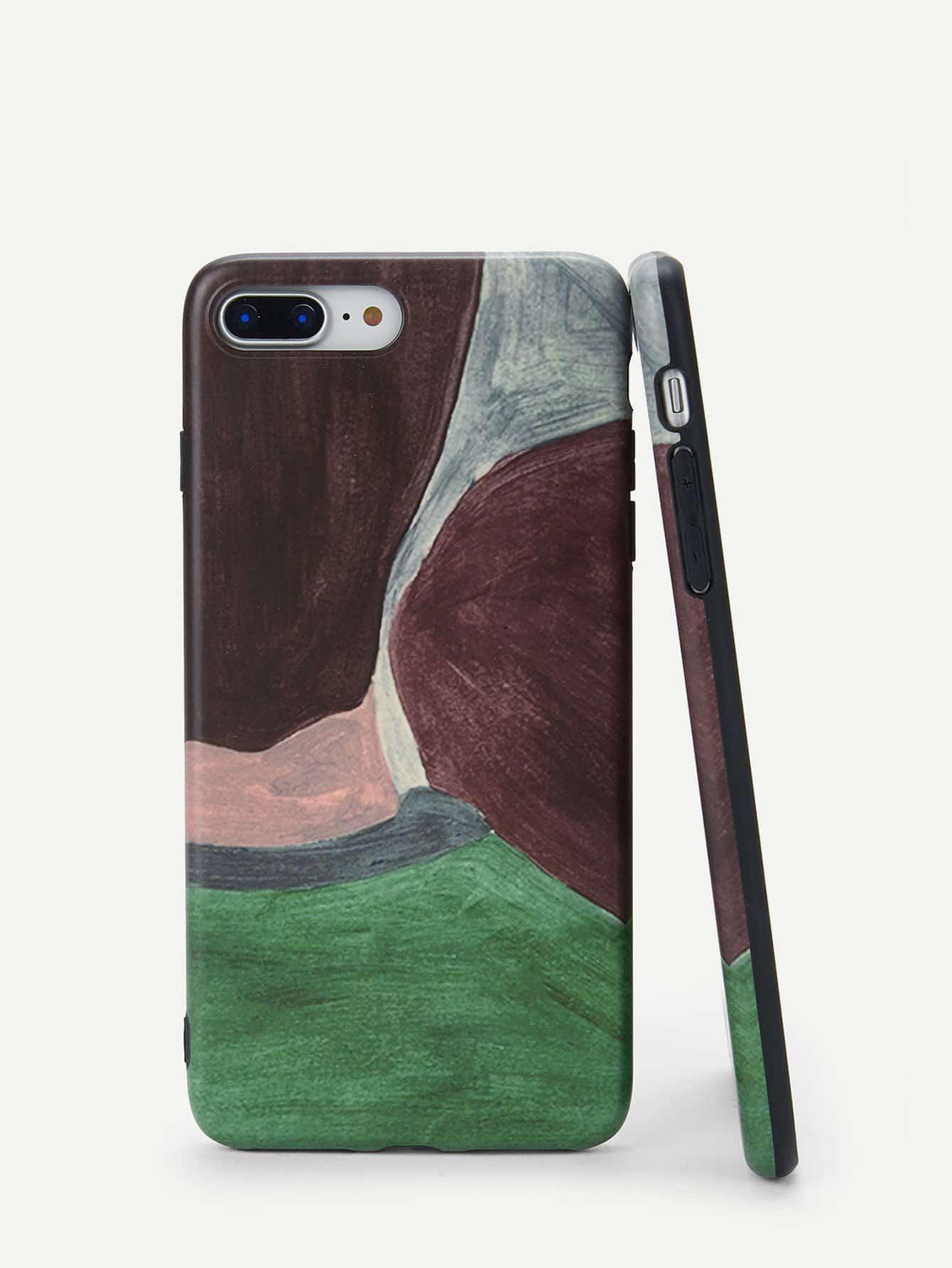 Купить Контрастный корпус сотового телефона для iPhone с принтом абстрактным, null, SheIn