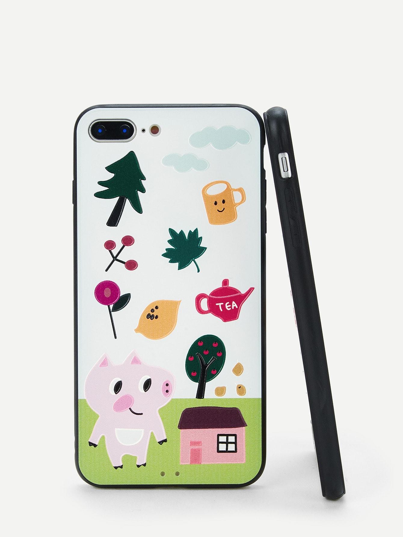 Купить Корпус сотового телефона для iPhone с принтом свиньи и дерева, null, SheIn