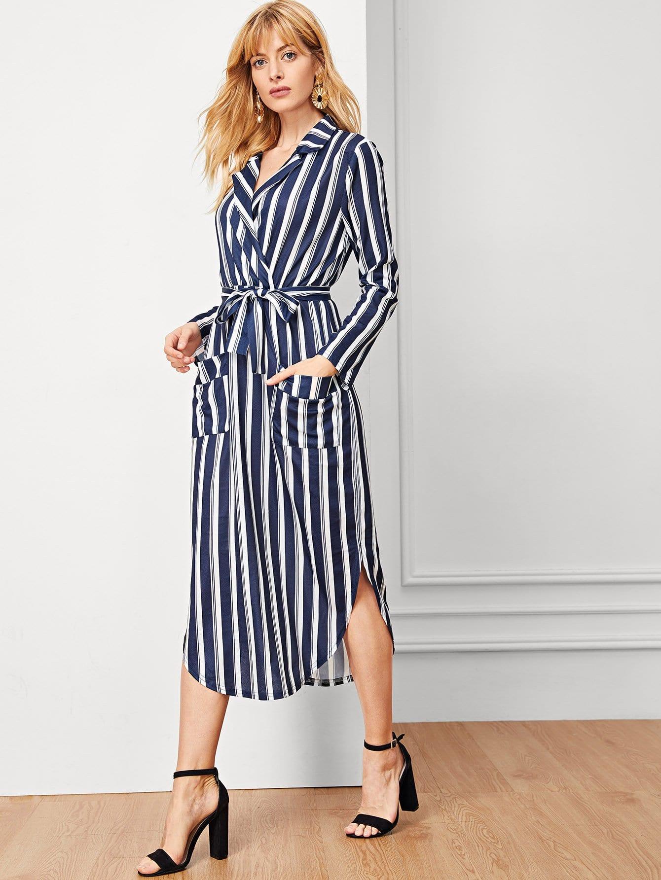 Купить Полосатое платье с карманами, Masha, SheIn
