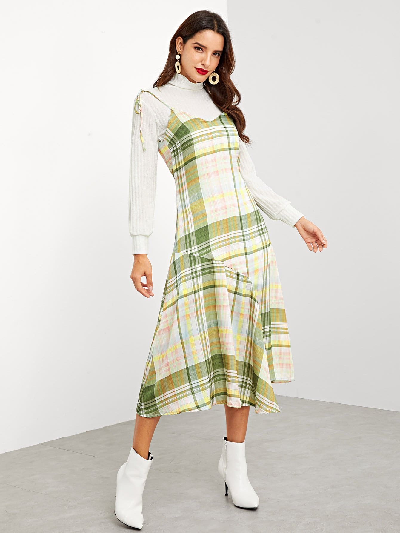 Купить Асимметричное платье на бретелях в клетку, Juliana, SheIn