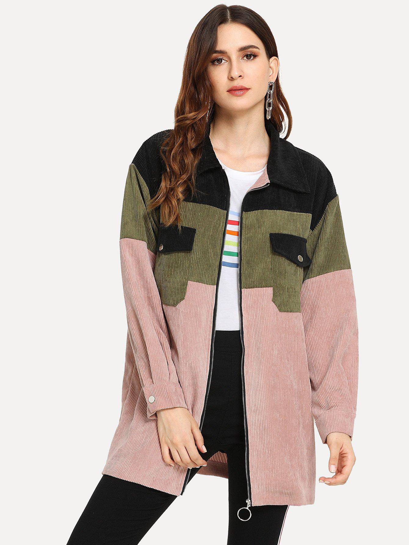 Купить Контрастое пальто с застёжкой молния, Jana, SheIn