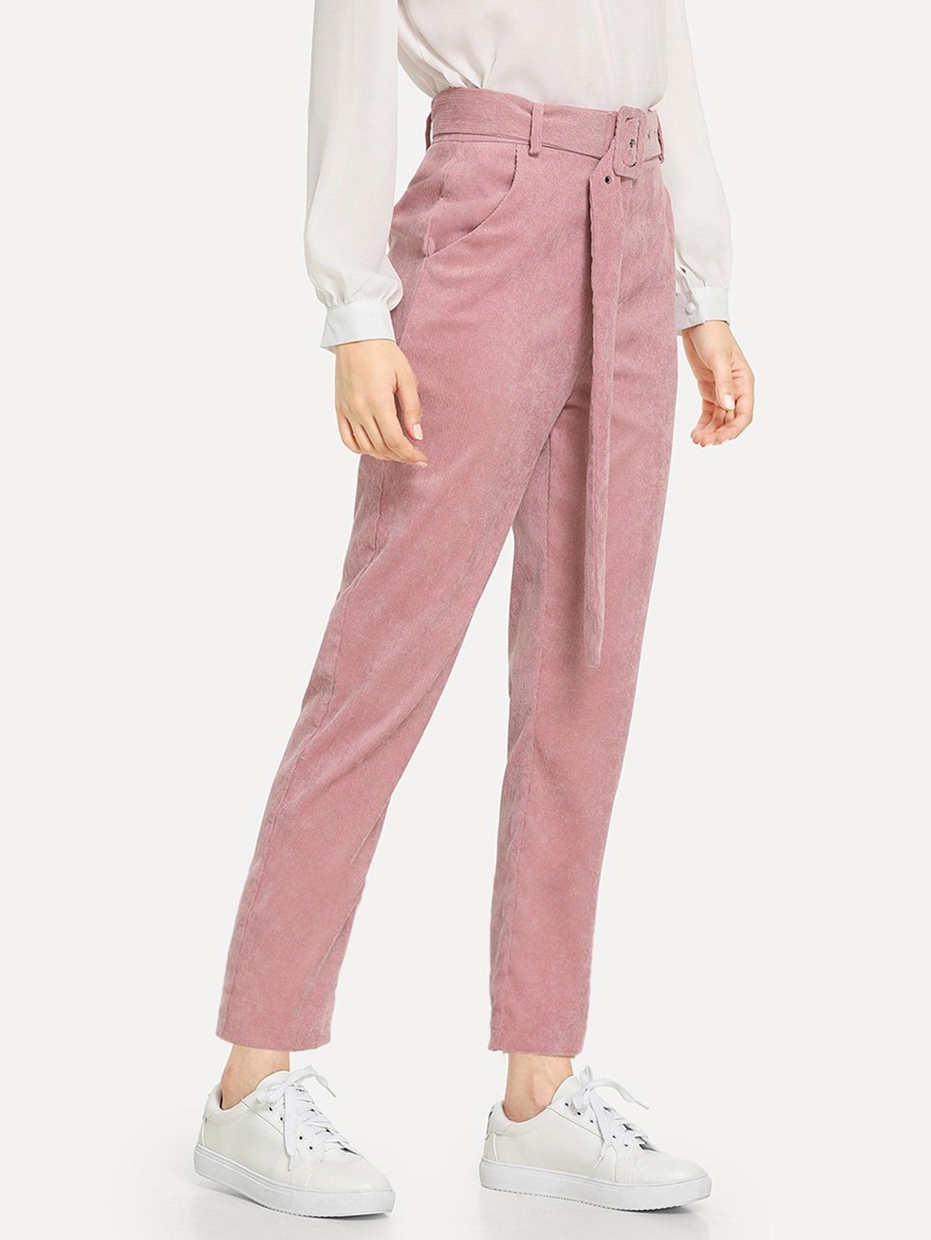 Купить Простые брюки с наклонными кармананами и поясом, Jana, SheIn