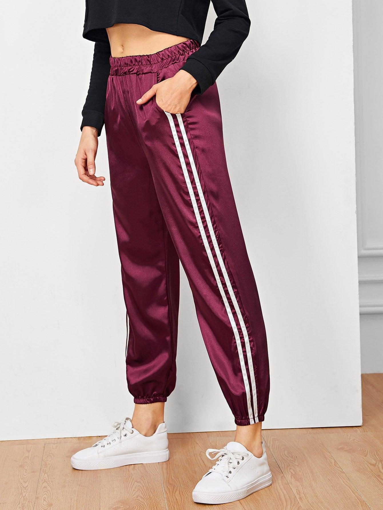 Купить Полосатые брюки с эластичным поясом, Masha, SheIn