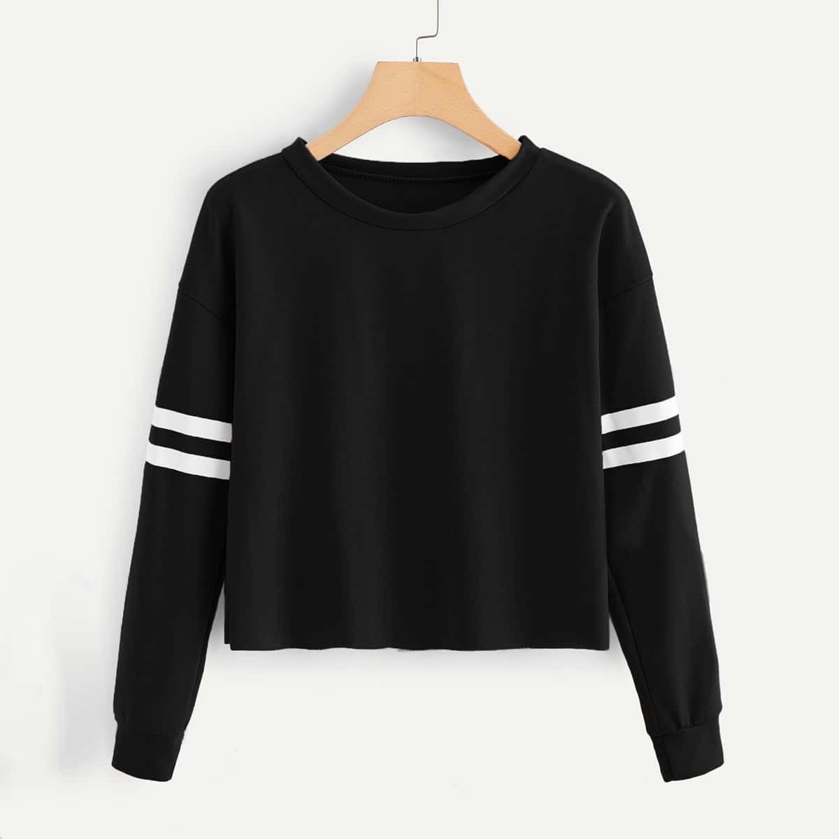 Sweatshirt met strepen op mouwen