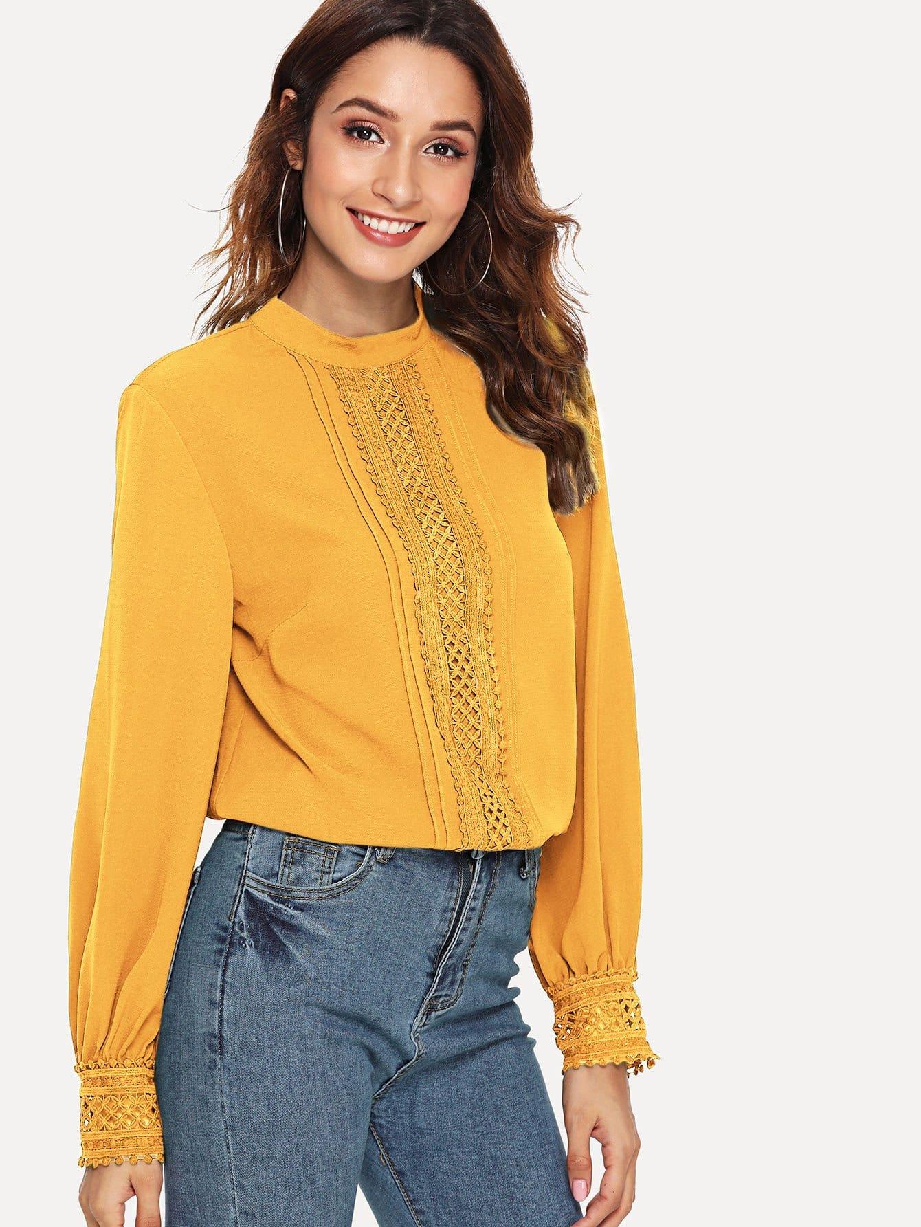 Купить Отделкой кружевной блузка с ложным воротником, Gabi B, SheIn