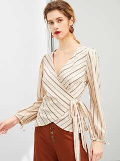 Tie Side Stripe Wrap Top