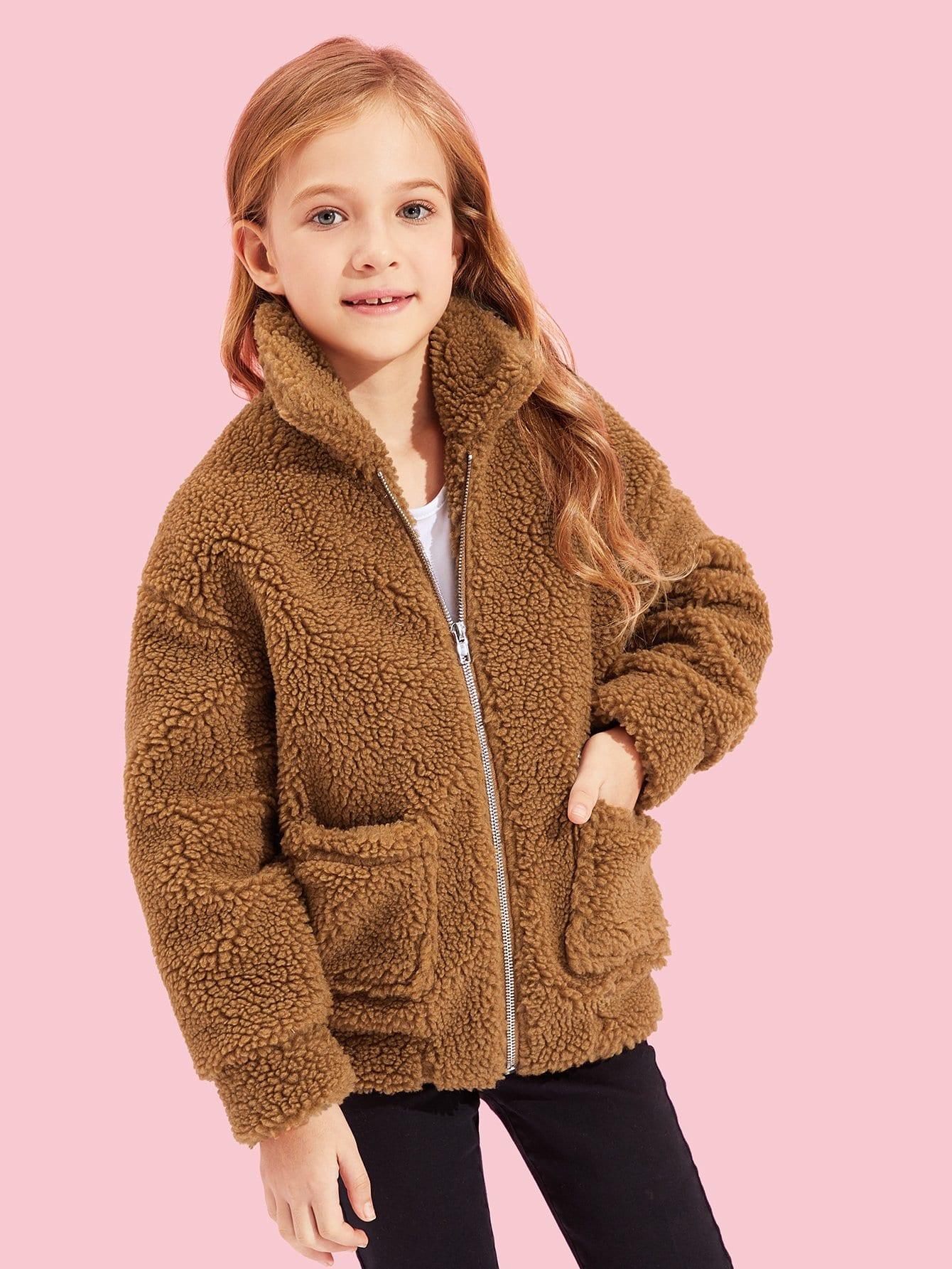 Купить Для девочек тедди куртка на молнии с карманом, Kassia, SheIn