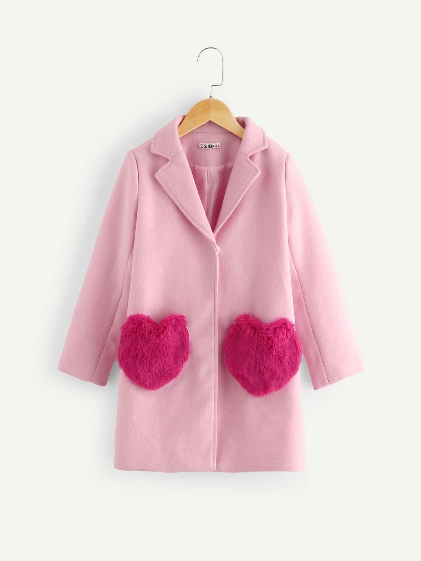 Купить Однобортное пальто из искусственных кож и с карманами для девочки, null, SheIn
