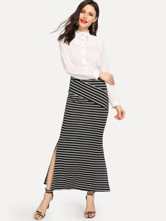 Slit Hem Striped Skirt
