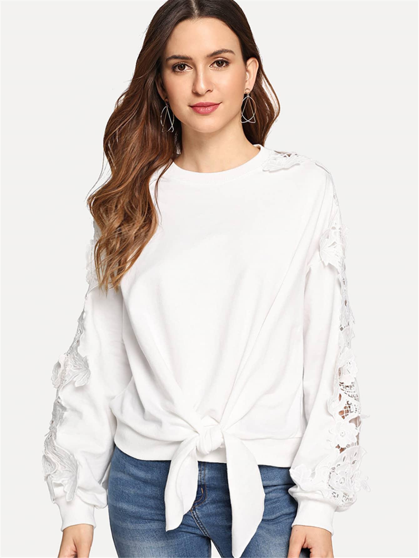 Купить Твердый пуловер с кружевным рукавом спереди бант, Jana, SheIn