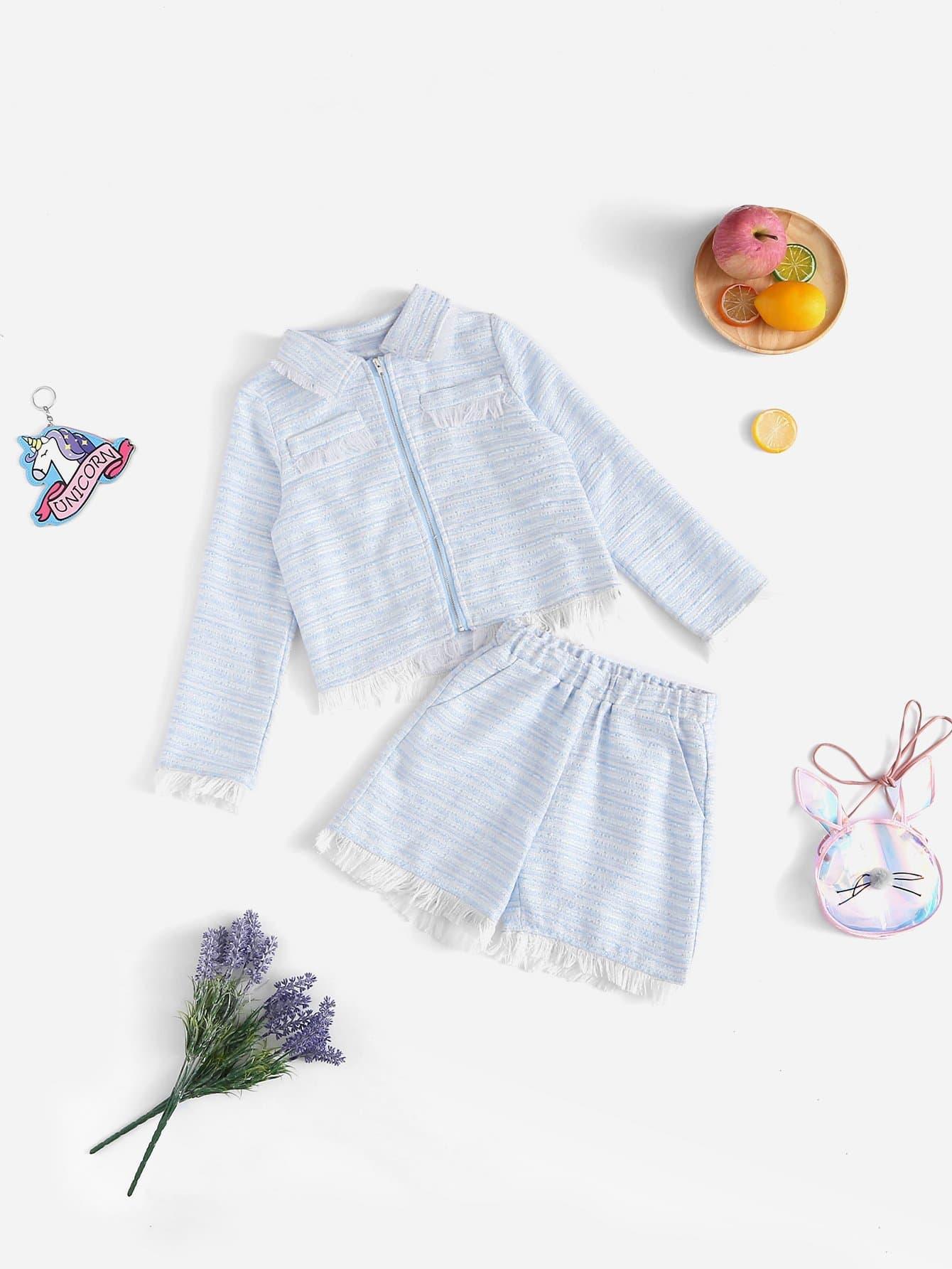 Купить Для девочик необработанный низ топ на молнии с шорты комплект, null, SheIn