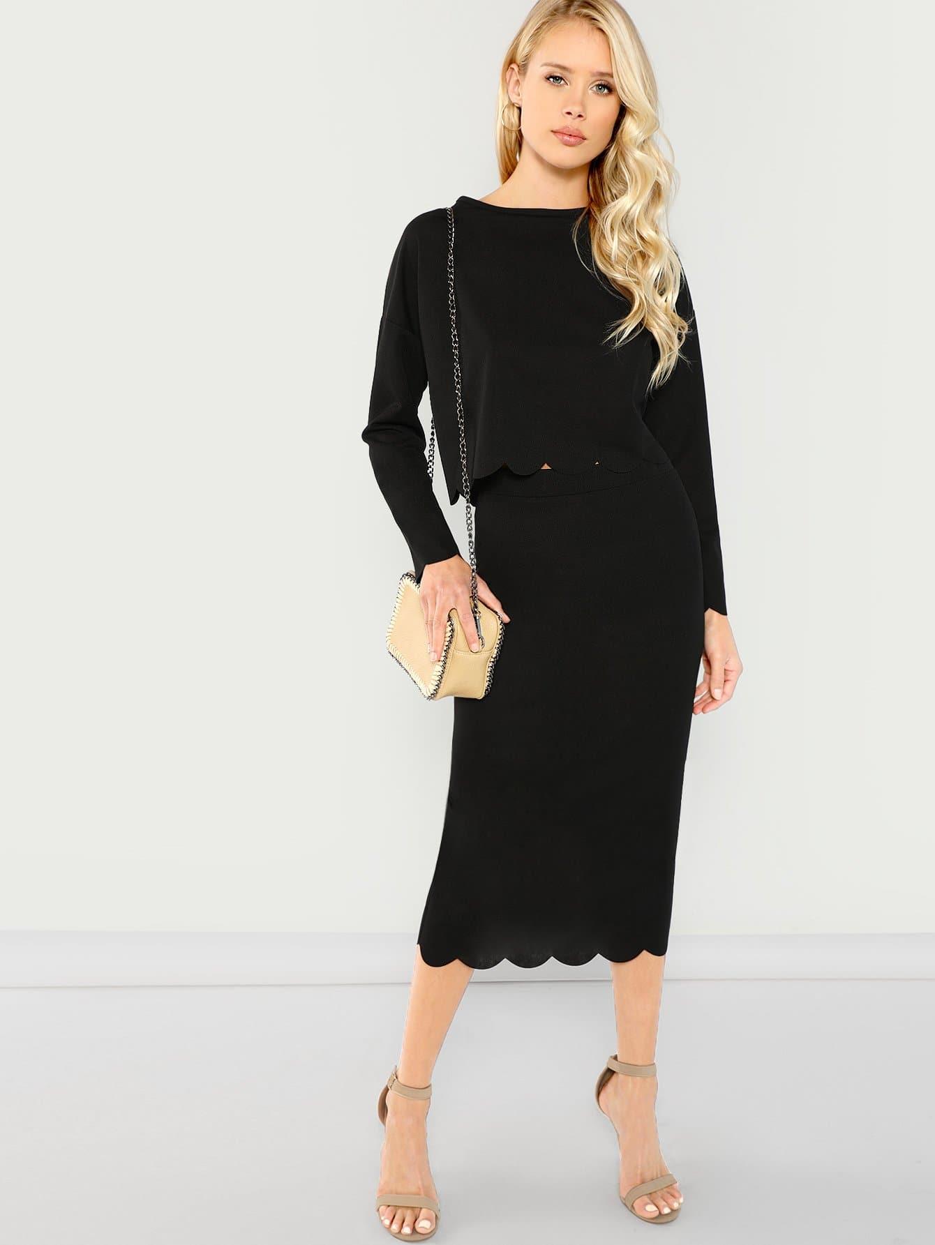 Купить Комплект юбка и твердый топ с веерообразной отделкой, Allie Leggett, SheIn