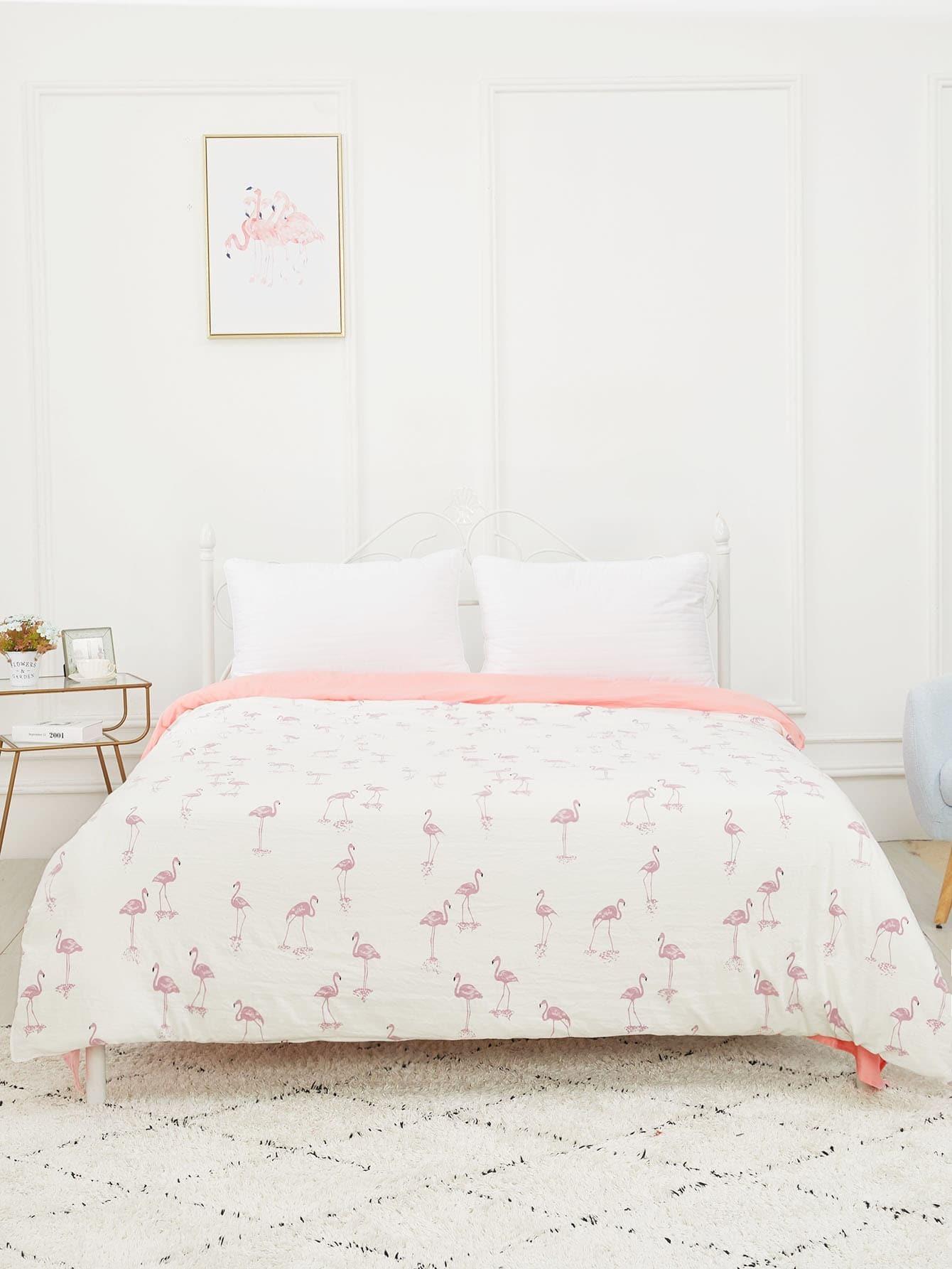 Купить Бархатное постельное бельё с рисунками фламинго 1шт, null, SheIn