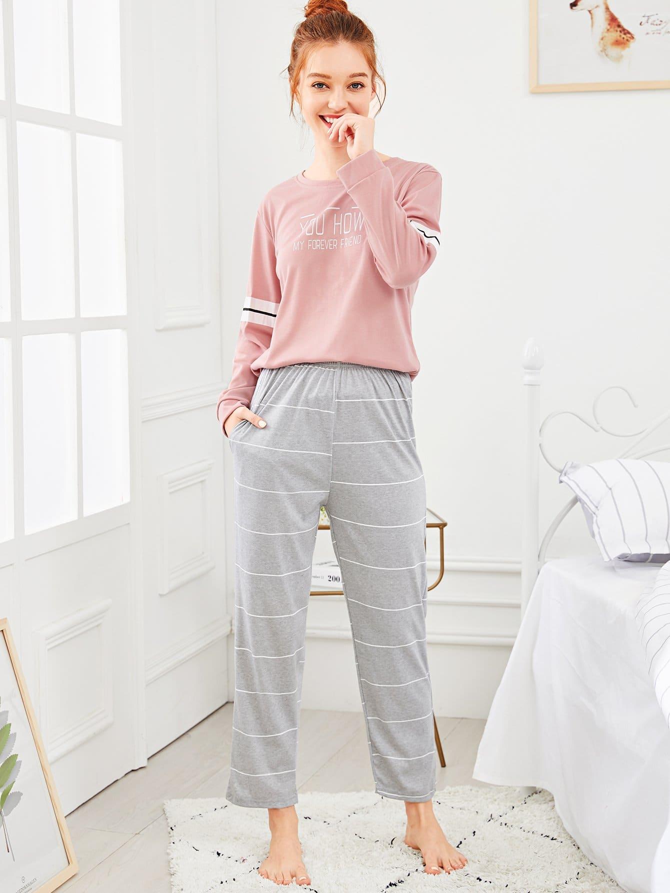 Купить Комплект полосатой пижамы с рисунками буквы, Poly, SheIn