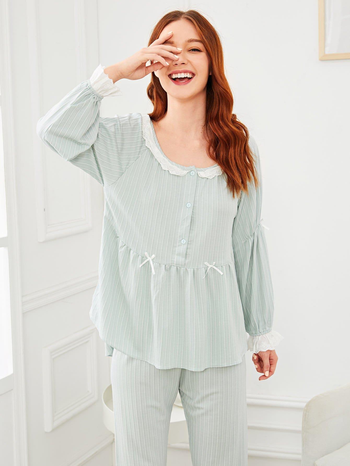 Купить Комплект пижамы с кружевными оборками и с бантом, Poly, SheIn