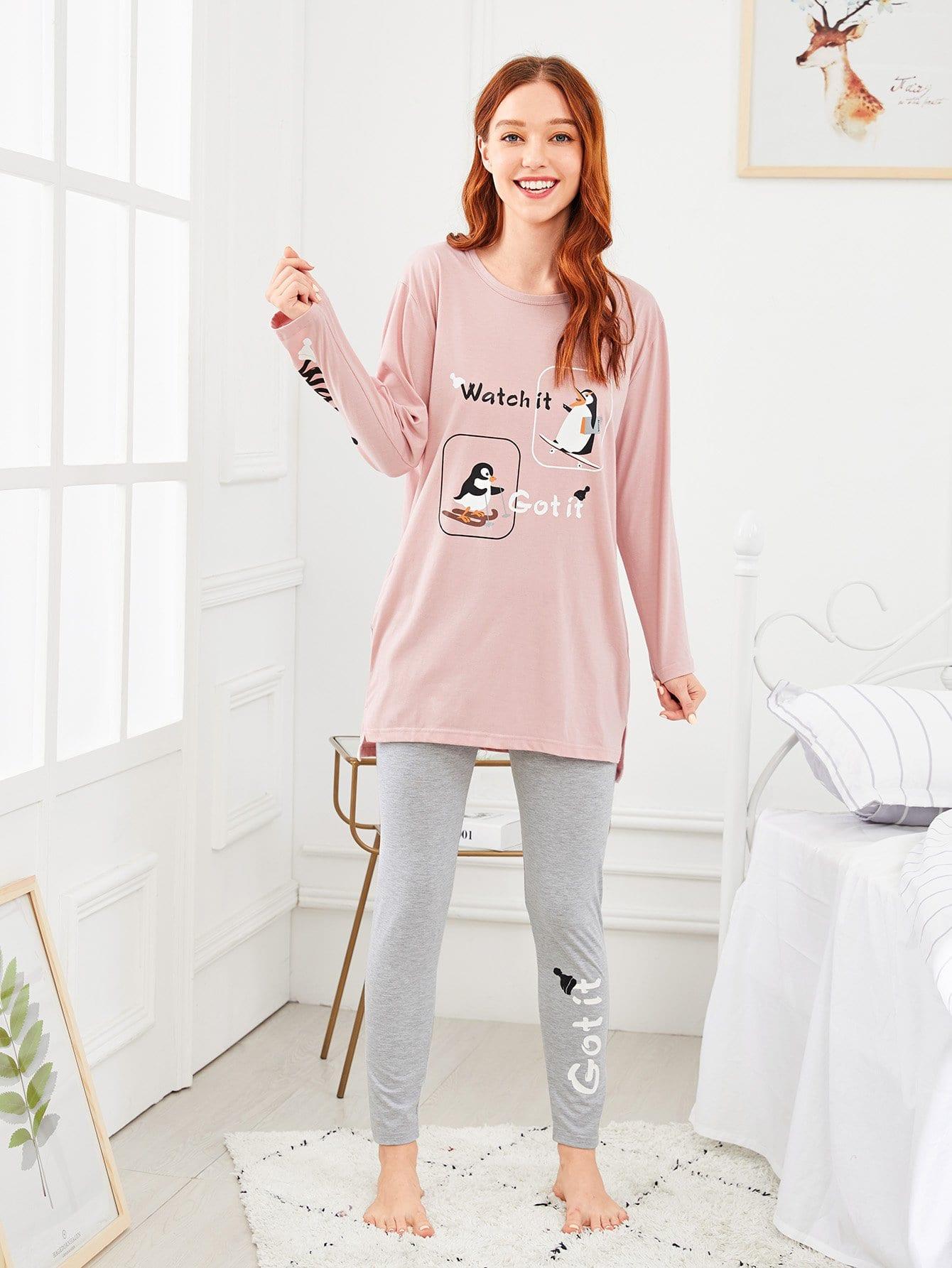 Купить Комплект пижамы с рисунками пингвина буквы, Poly, SheIn