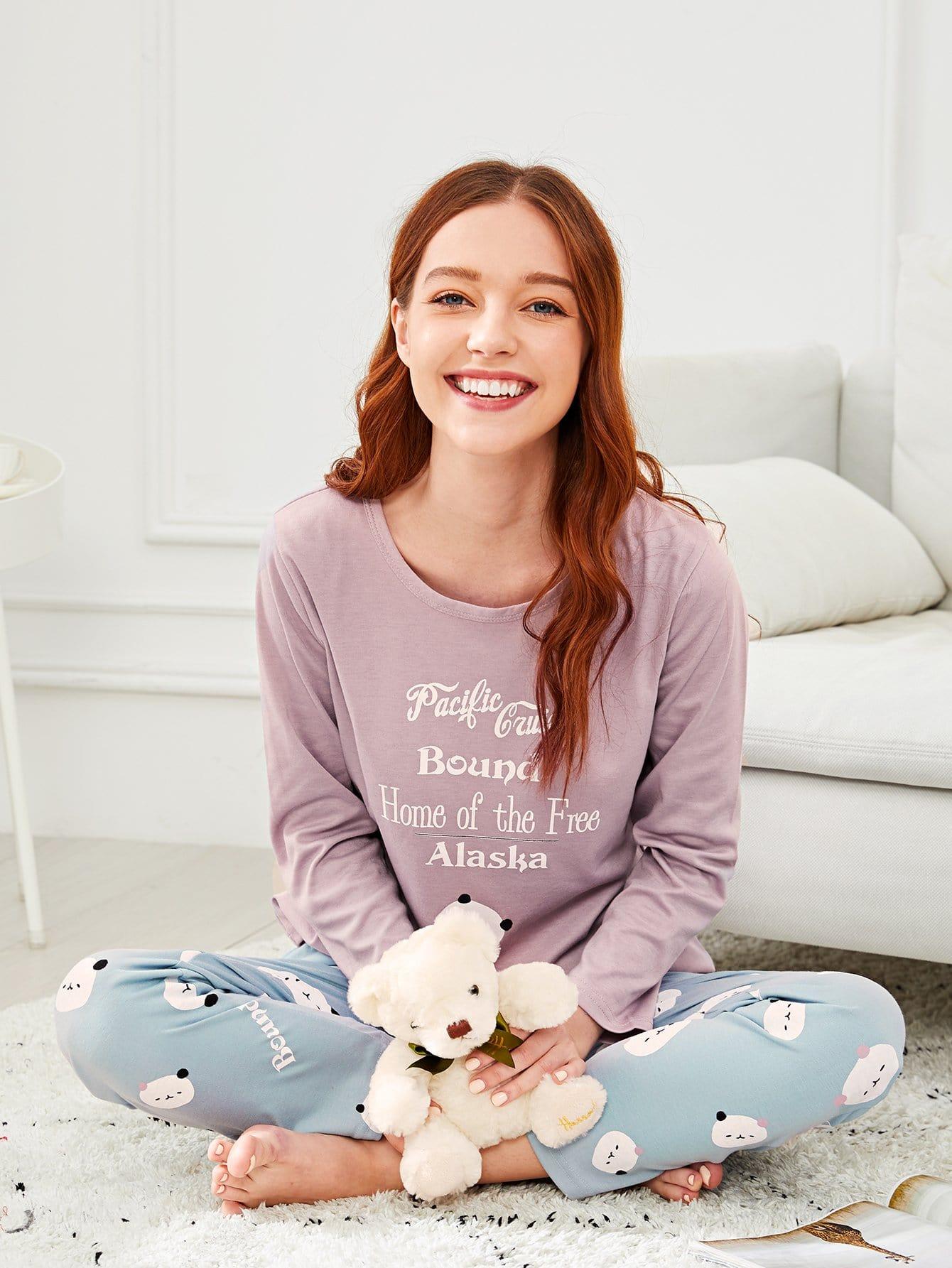 Купить Комплект пижамы с рисунками медведя и буквы, Poly, SheIn