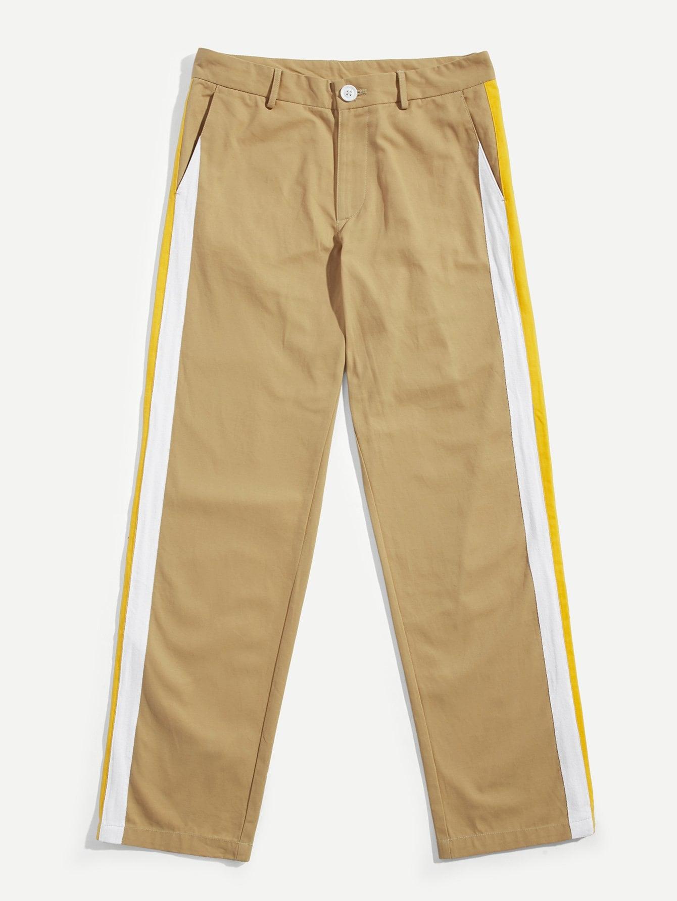Длямужчин контрастные прямые ноги брюки