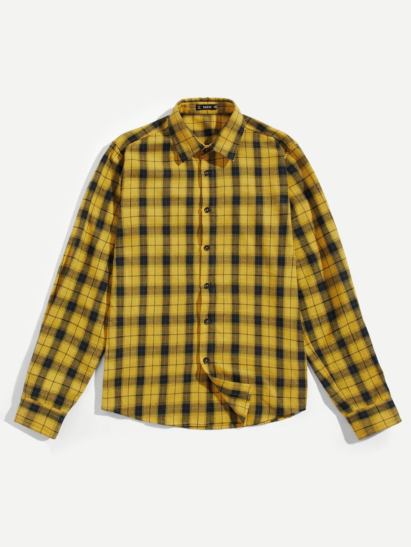 Купить Для мужчин рубашка в клетку с выгнутым подолом, null, SheIn