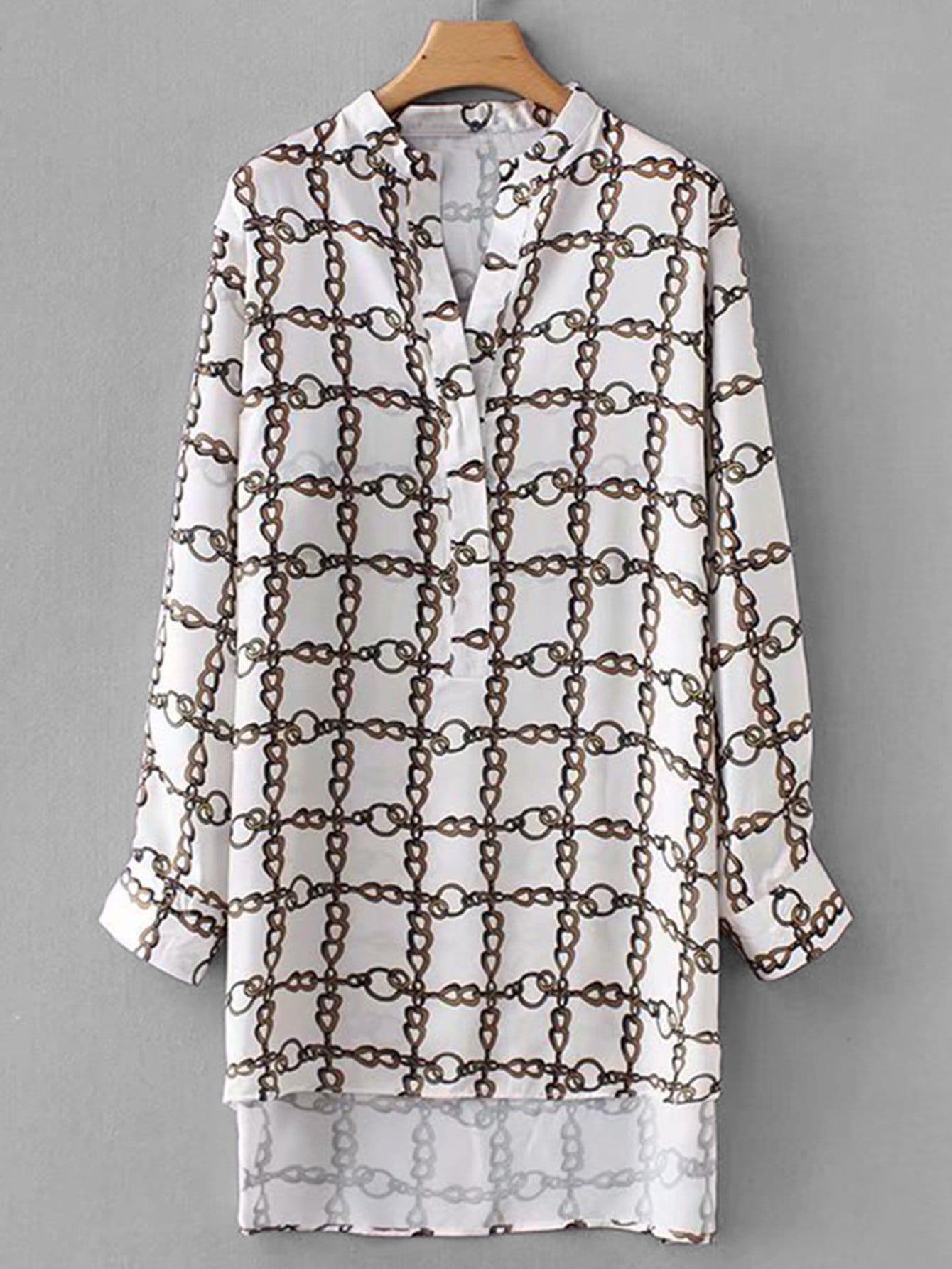 Купить Цепи печати рубашка с асимметричным низом, null, SheIn