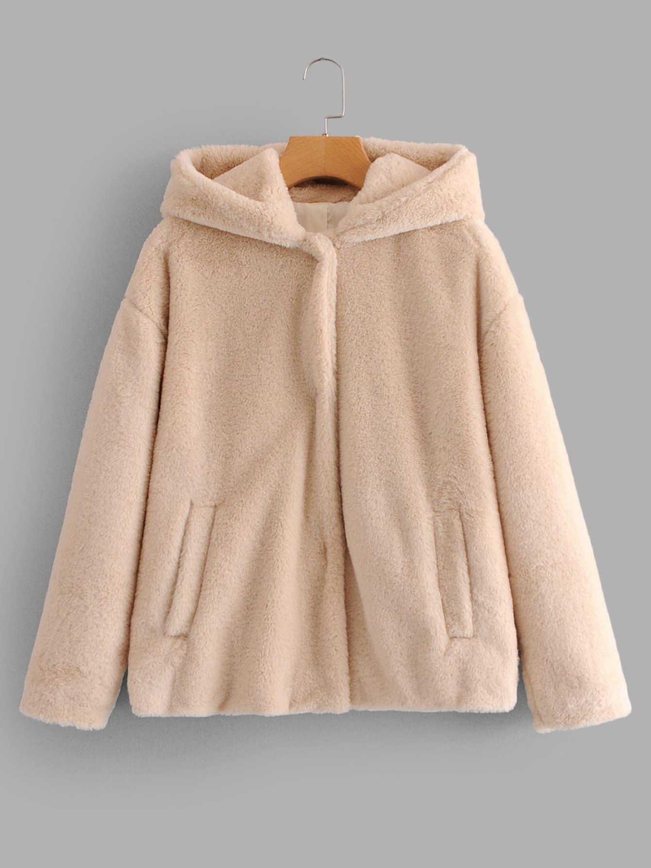 Купить Пушистое тедди пальто с капюшоном с карманом, null, SheIn