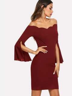 Split Trumpet Sleeve Scallop Bardot Dress