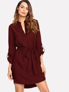 V Cut Self Belted Curved Hem Shirt Dress