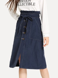 Contrast Stitch Button Up Belted Skirt