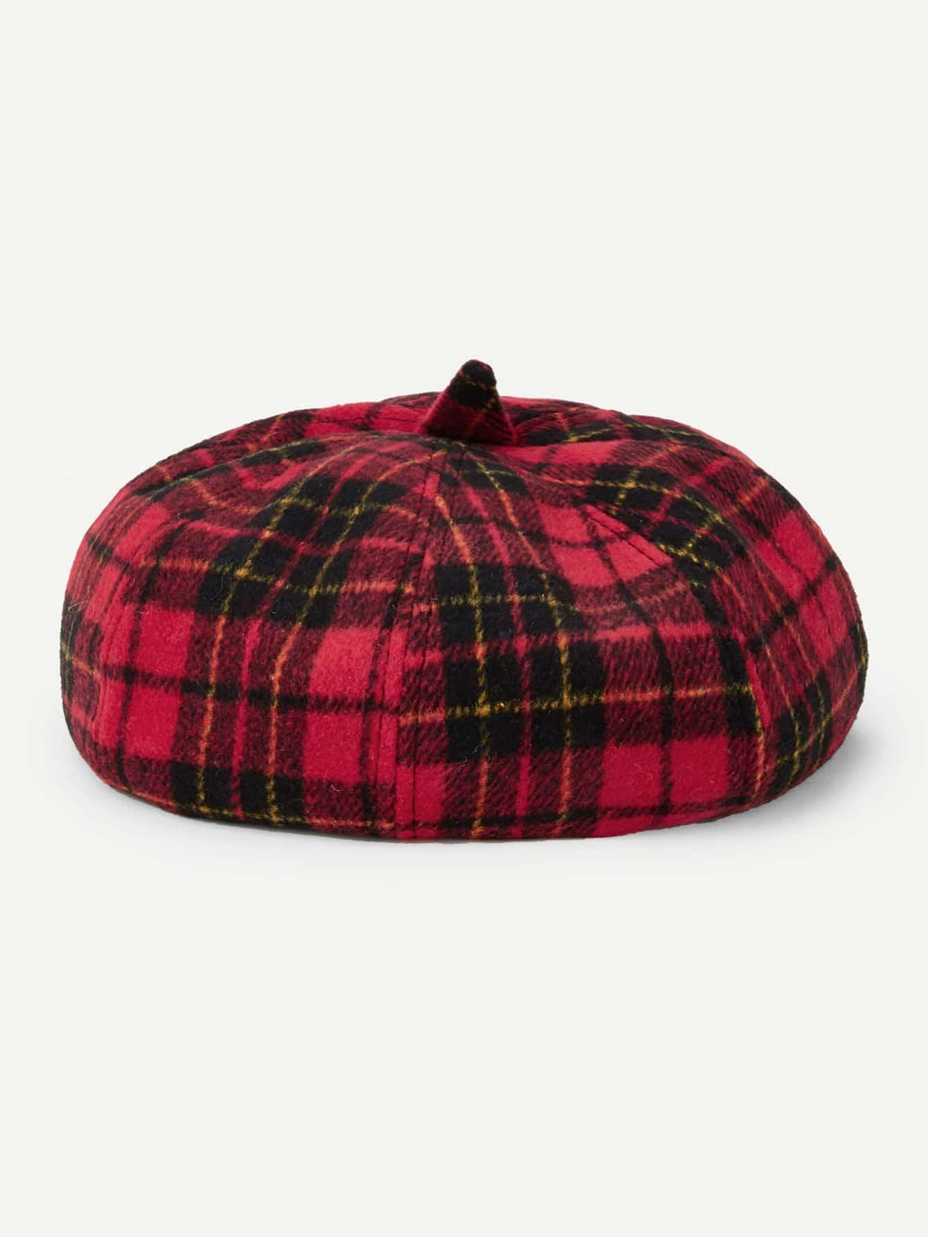 Купить Берет шапки в клетку, null, SheIn