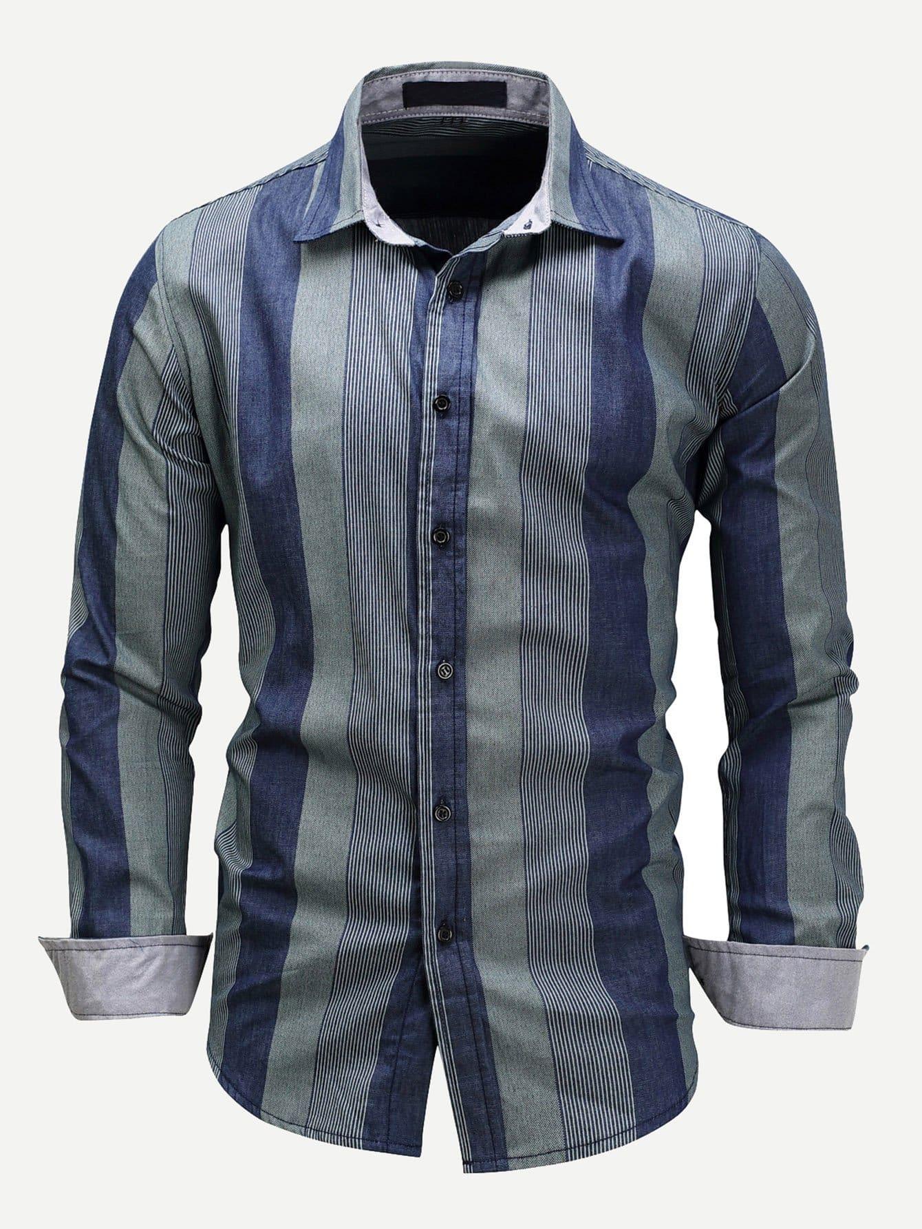 Купить Мужская джинсовая футболка с тонким-полосатым воротником, null, SheIn