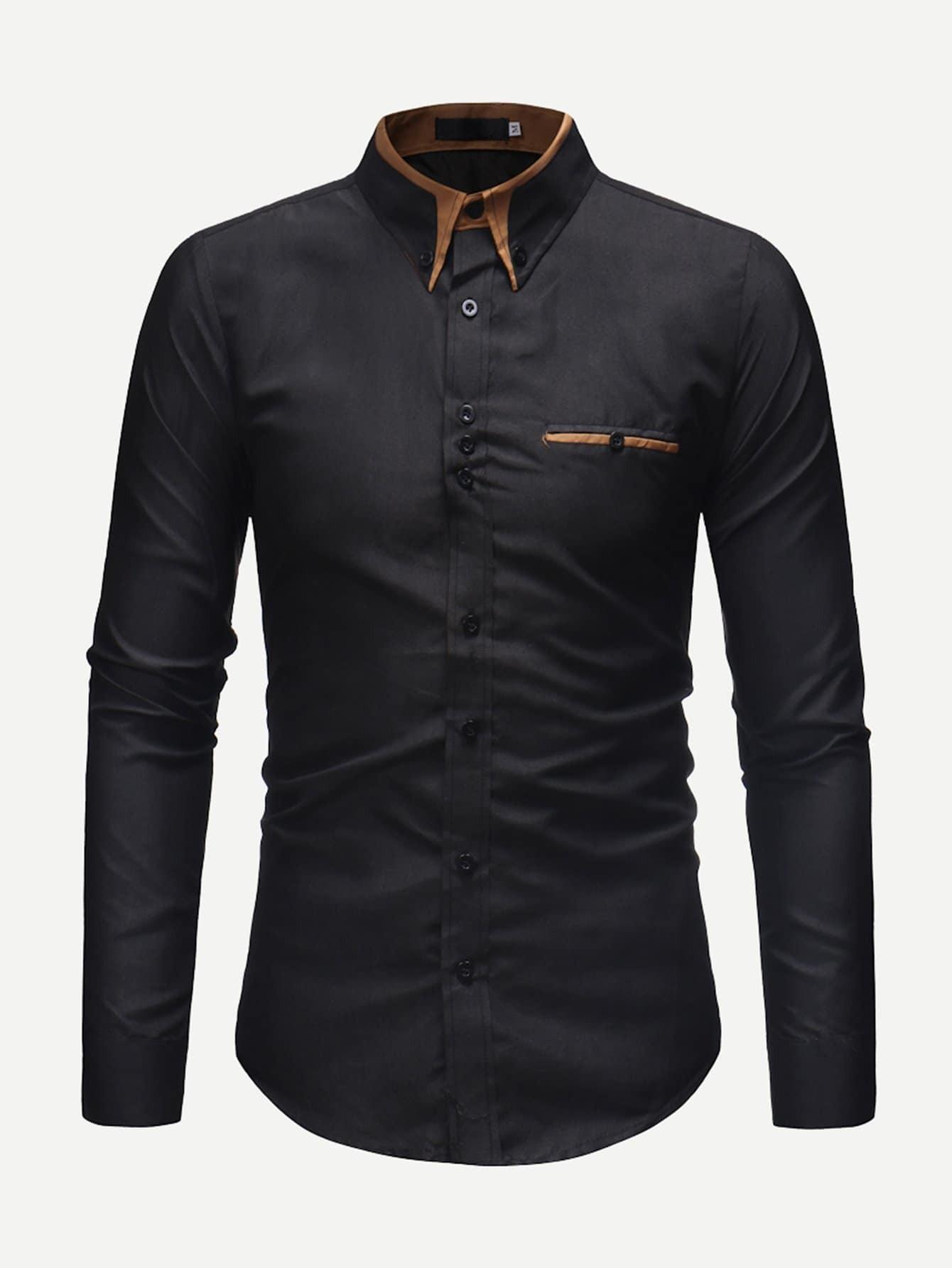 Купить Мужская футболка с контрастным воротником и длинными рукавами, null, SheIn