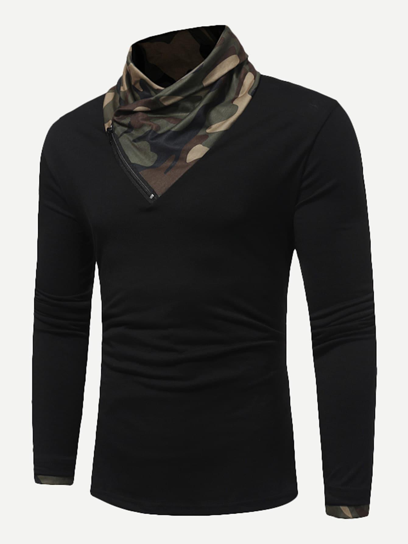 Купить Мужская камуфляжная футболка с застёжкой молния, null, SheIn