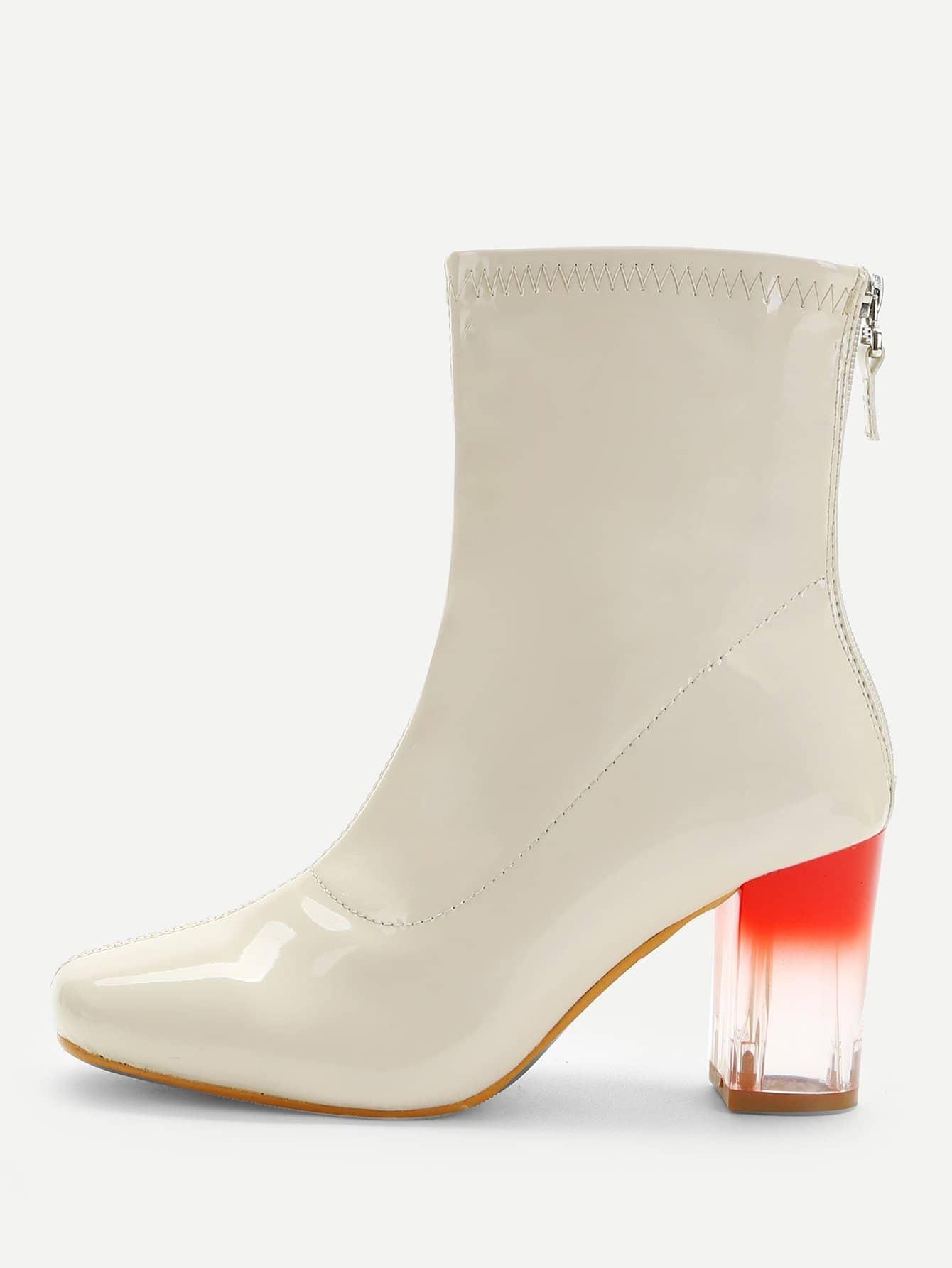 Купить Прозрачные Ombre сапоги на высоких каблуках с застёжкой молния назад, null, SheIn