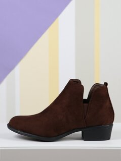 Faux Suede Pull On Chelsea Ankle Boots
