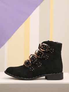 Faux Suede Studded Buckle Straps Booties