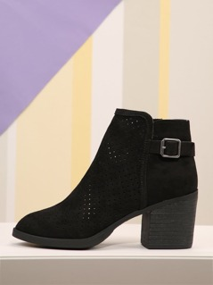 Faux Suede Perforated Side Buckle Booties