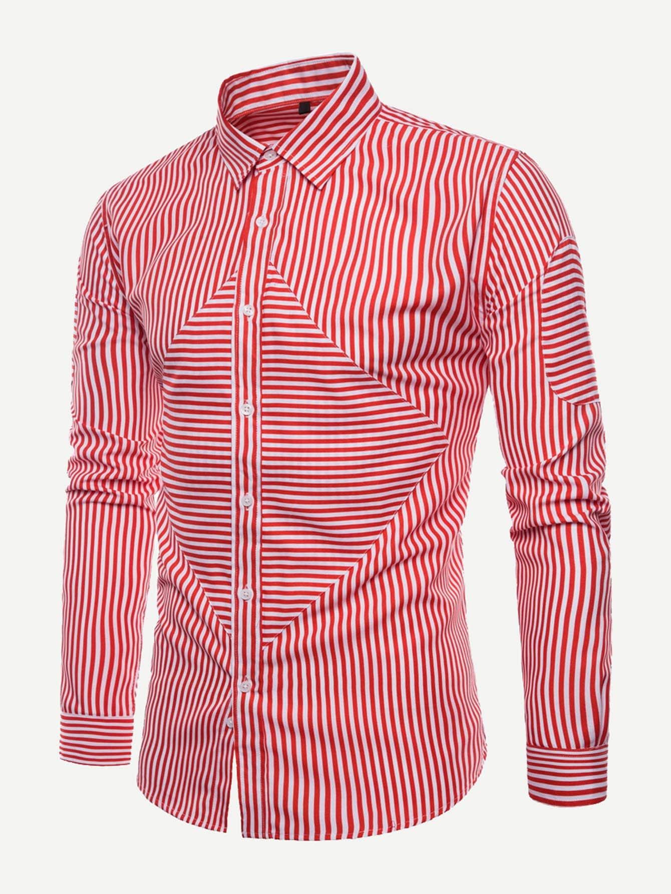 Купить Мужская футболка с контрастными полосами, null, SheIn